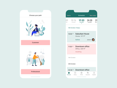 Cleaning Service iOS app - Customer tabs illustration booking profile feed events calendar sketch tool job business flat design ios ux design user interface mobile app
