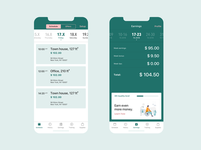 Cleaning Service iOS app - Professional from settings tabs illustration booking feed events calendar mobile app user interface ux design ios flat design business job tool sketch