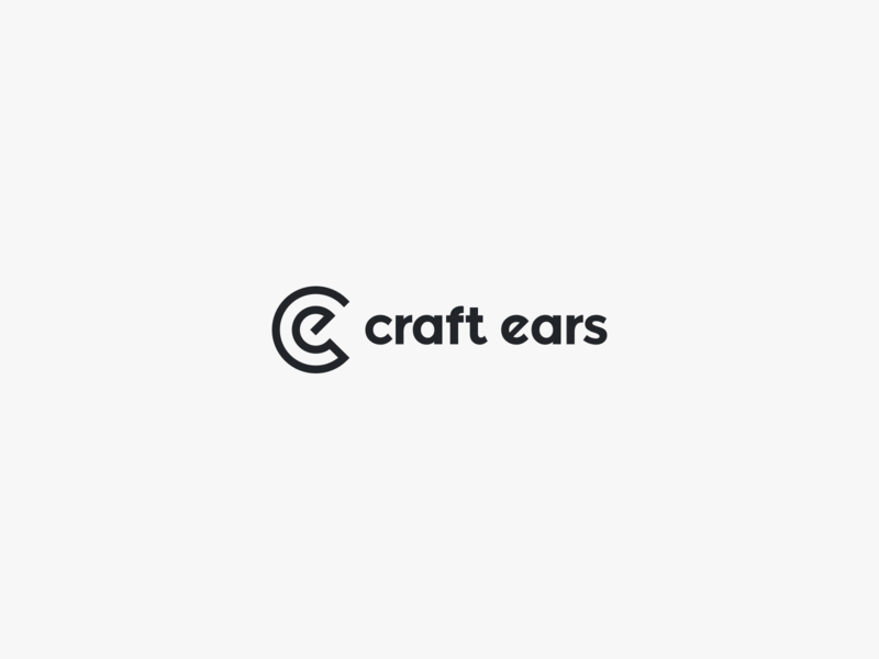 Craft Ears Logo graphic design logo branding minimal music black  white illustrator