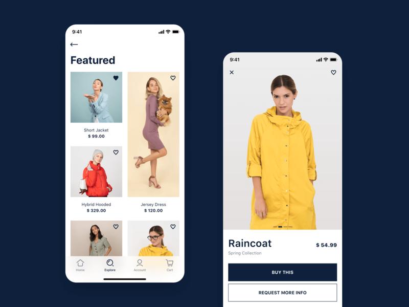 Fashion Store - concept iOS app sketch white light fashion ecommerce minimal flat design ios ux design user interface concept design mobile app