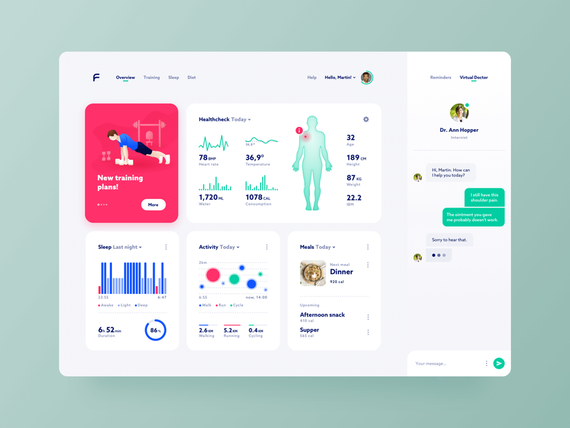 Health Check - dashboard concept sketch light colorful dashboard navigation chat statistics profile tool health flat design web design ux design user interface concept design website illustration graphic design
