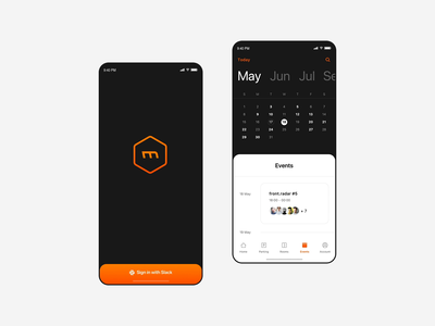 Merixstudio App - Calendar interaction transport tabs tool dark navigation splash screen events calendar principle animation sketch minimal flat design ios ux design user interface mobile app graphic design interaction design