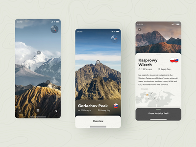 Peak Finder - Augmented reality concept app travel principle sketch map camera details page ar augmented reality nature education iphone ios animation mobile app user interface interaction design concept design graphic design