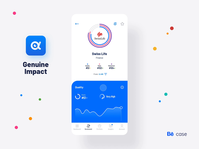 Genuine Impact, Fintech App - Behance case study interaction design ux design user interface technology statistics sketch mobile app minimal ios graphic design flat design fintech finance listing details page design data dashboard chart business