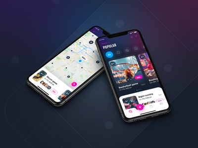 InGame, Sport events - concept app design flat design graphic design ios mobile app user inteface ux design listing filters map sport social gradients shadows event feed navigation slider sketch