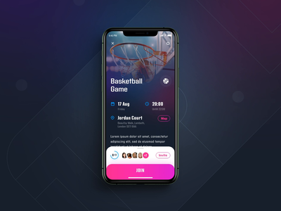 InGame, Sport events - details screen details page interaction design principle animation ux design user inteface sport social sketch shadows navigation mobile app listing ios graphic design gradients flat design feed event design