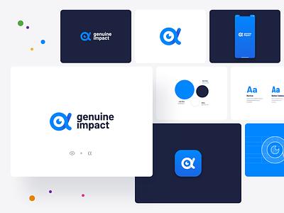 Genuine Impact, Fintech App - logo design alpha eye typography investment branding logo design sketch mobile app minimal graphic design flat design fintech finance design data chart business