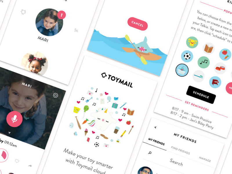 Toymail overview startup illustration kid kids voice amazon product design ui ux ios app