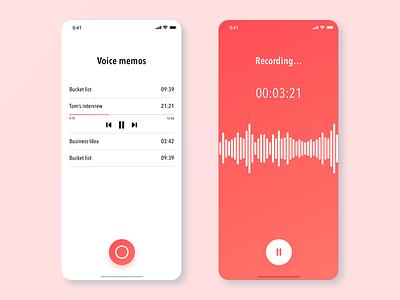Voice memo app iphone app iphone x ios 12 xddailychallenge adobe xd ux ui ux challenge ux design gradiant user center design design user experience ios ux ui user inteface apps design voice app app concept