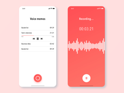 Voice memo app iphone app iphone x ios 12 xddailychallenge adobe xd ux ui ux challenge ux design gradiant user center design design user experience ios ux ui user inteface apps design voice app app concept