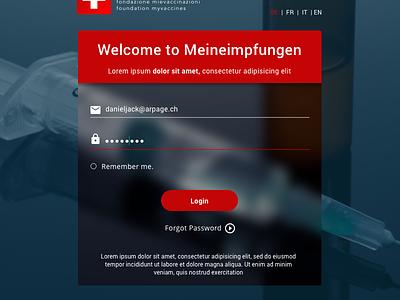 Meineimpfungen Login Page concept design ui ux