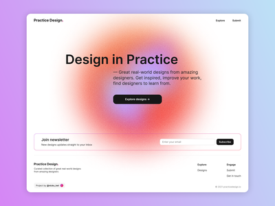 Practice Design Website Early Launch landing page product design newsletter home page interface hero image hero section web page ux ui design web