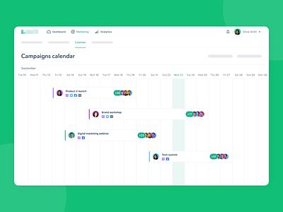 Marketing Campaigns Calendar schedule timeline calendar clean producthow marketing interface ui ux design product design web app