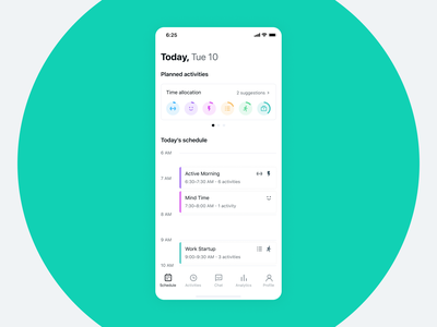 Day Habits Smart Assistant App Calendar Page assistant productivity tracker habits activities schedule calendar clean interface ux ui design product design ios mobile