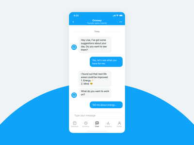 Day Habits Smart Assistant App Chat Page assistant productivity tracker habits messenger bot chat modern interface ux ui design product design ios mobile