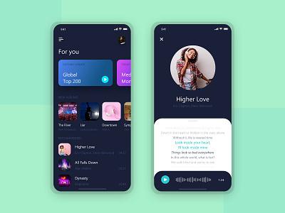 Music player- UI/UX Design branding music app ui mobile app ui design mobile app design rock music music lyrics app song lyrics design app design ux ui appdesign music player music app soundcloud