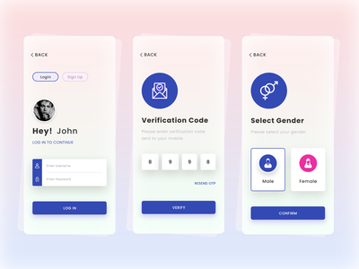 Login, OTP Login, Gender Select App Screen Design vector ui branding uiux design verification code verification app otp app login mobile app design app design gender select gender logo design otp page otp login page