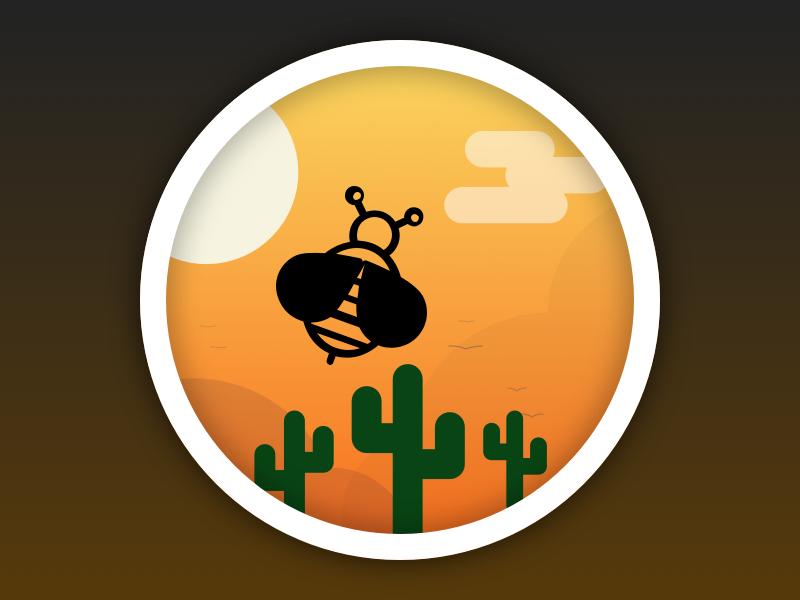 Badge   Bee in the desert illustration desert bee