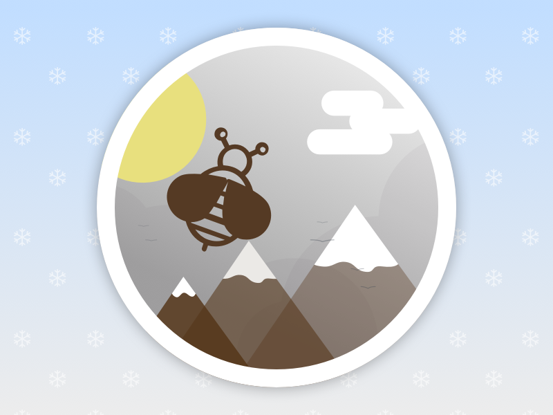 Badge   Bee in the Mountains illustration mountain bee