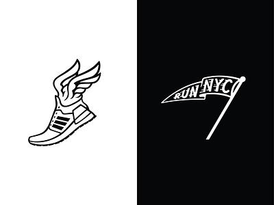Adidas x NYC Marathon web digital illustration icon design iconography icon adidas design logo russell pritchard