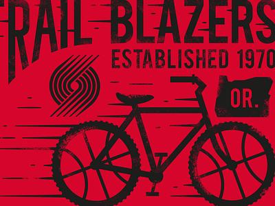 Blazers Graphic hipster portland bike nba typography illustration basketball trail blazers