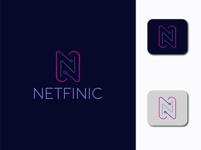 N Letter Mark  Modern NETFINIC Logo Design design logofolio logodesign logo modern logo minimalist logo vector illustration branding