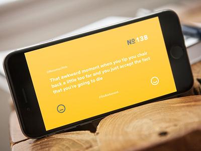 SoAwkward App (Live) minimal typography hashtag awkward landscape interface ui