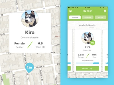 Runner: App Concept browse cards map interaction interface ui ux app runner walker dog
