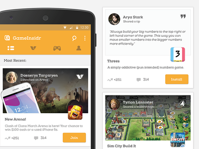 GameInsidr gaming icons android cards interface mobile ux ui games