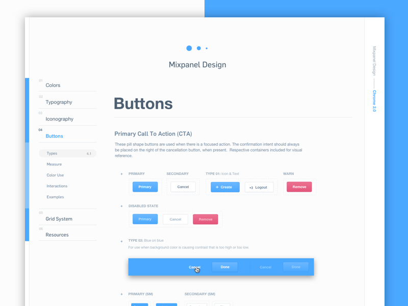 Mixpanel Styleguide – Buttons style guide components design system interface ux ui buttons