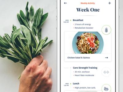 Ēvolve – Health Made Simple (concepts) pota journal timeline serif evolve ui ux fitness health recipe