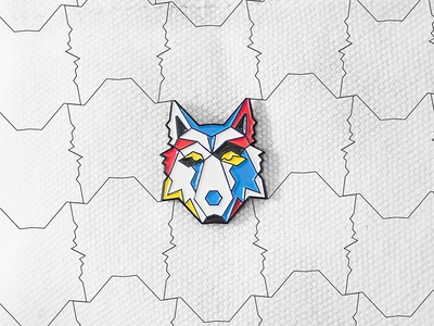 Mixpanel – Cohorts Launch Pin cohort wolf pack wolf tessellation tessellate pins enamel pin