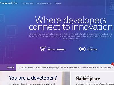 PRoximus Enco website purple header homepage iot