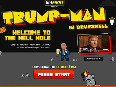 Trumpman in BrussHell pacman game rat pixelart trump