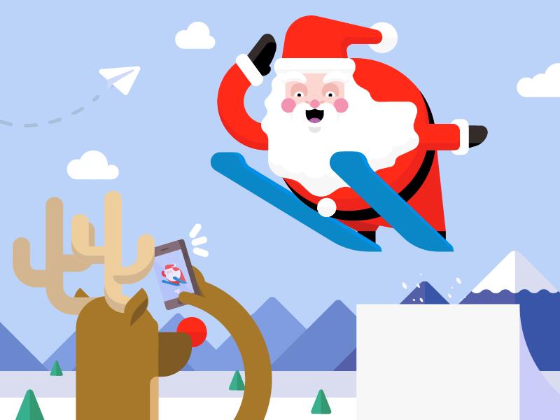 Happy holidays rudolph skiing santa vector holidays christmas