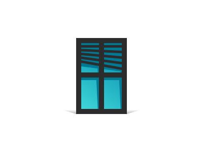Window design icon logo pictogram window shutter shadow flat symbol