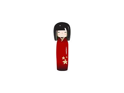 Kokeshi doll kokeshi traditional japanese illo 2d flat minimal illustrator vector illustration
