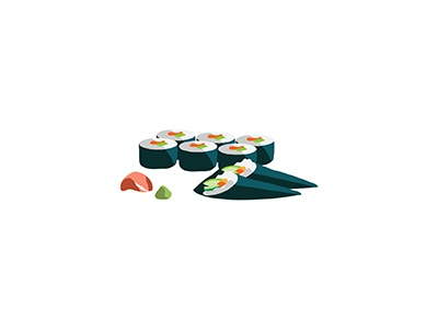 Sushi cuisine handroll sushi food japanese illo flat 2d minimal illustrator vector illustration