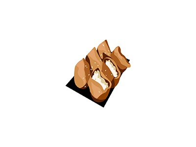 Inarizushi noms sushi tofu inarizushi inari cuisine food japanese illo flat 2d minimal illustrator vector illustration