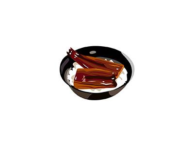 Unagi eel unagi cuisine food japanese illo flat 2d minimal illustrator vector illustration