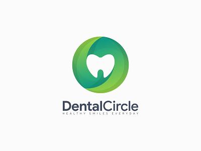 Dental Circle Logo premium logos popular freepik logos trendy logos dental circle logo circle dental logo gradient logos colorful logo green color gradient flat graphic design vector illustration branding identity logo design branding app minimalist