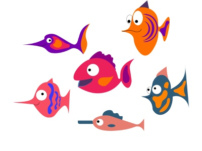 aquarium fish design reef ocean nature lifemarine illustration funny fish exotic dive design coral colorful color character cartoon blue background aquatic aquarium animal