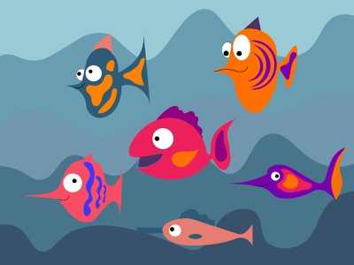 Fish design fish exotic dive coral colorful color background aquatic aquarium animal vector logo blue character object cartoon flat minimal illustration design