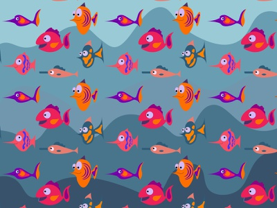 fish pattern reef ocean nature lifemarine illustration funny fish exotic dive design coral colorful color character cartoon blue background aquatic aquarium animal