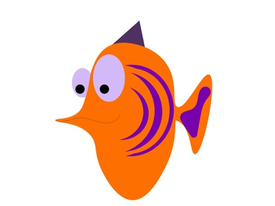 funny yellow fish fish aquarium vector colorful object character flat cartoon minimal illustration design