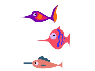 funny fish swimming character vector fish aquarium colorful flat cartoon minimal illustration design