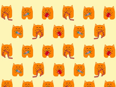 cute funny cat smiling design fish apple hotdog pattern fur smile animals red kitty pets funny isolated kitten illustration pet cute fox cartoon animal cat