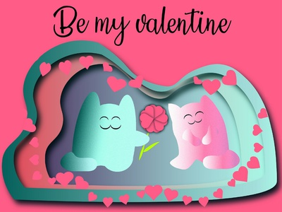 Happy cat couple St. Valentine's Day greetings card be mine i love you marriage pleased background affectionate heart together valentine colorful illustration cartoon happy couple emotion happyness love holidays cat