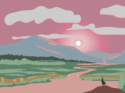 Mountain sunset landscape with a deer minimal design illustration panorama greentree grass animals forest water lake river pink deer sunset mountains nature outdoor landscape