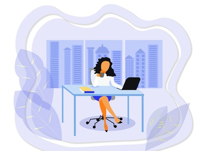 Businesswoman in an office manager jobs urban life urban art desk laptor success profit money workspace office worker green urban skyscrapers officework office style corporate businesswoman business